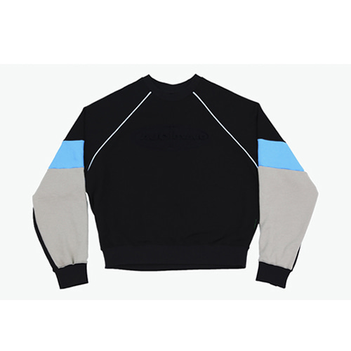 [AJOBYAJO] TRI COLOR SWEATSHIRT - BLACK