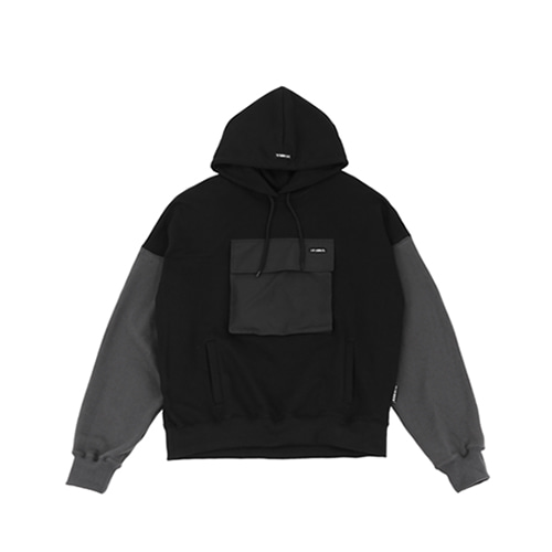 [AJOBYAJO] MIXED COLOR POCKET HOOD - BLACK