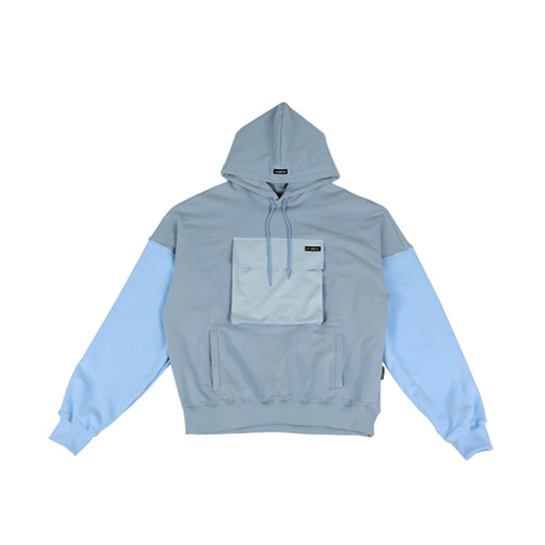 [AJOBYAJO] MIXED COLOR POCKET HOOD - SKY BLUE