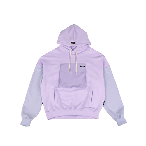 [AJOBYAJO] MIXED COLOR POCKET HOOD - LILAC