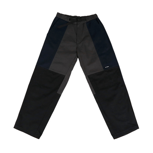 [AJOBYAJO] TWILL TRI COLOR PANTS - BLACK