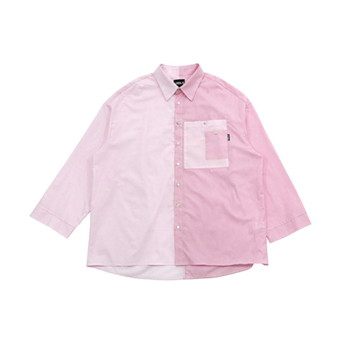 [AJOBYAJO] OVER STRIPE HALF SHIRT - PINK