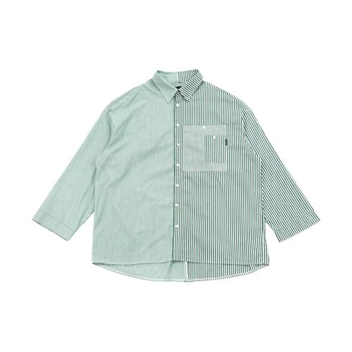 [AJOBYAJO] OVER STRIPE HALF SHIRT - GREEN