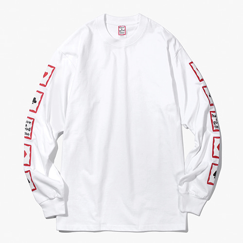 [Have a good time] Playing Card Arm L/S Tee - White