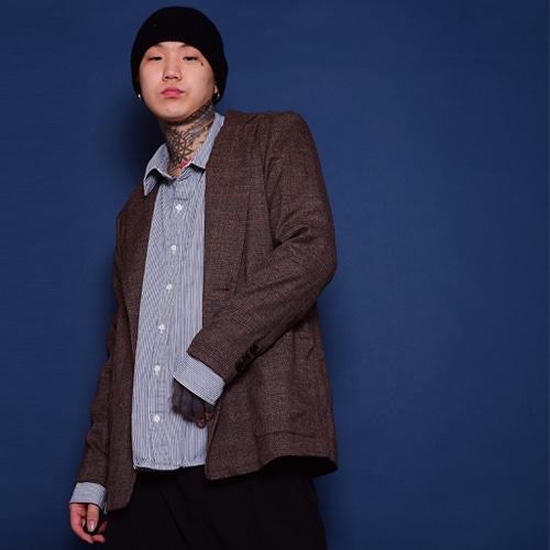 [NERD]Power Shoulder Check Jacket - Brown