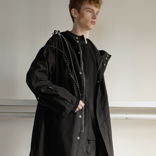 [choisi]Cross Belt Rain Coat - Black