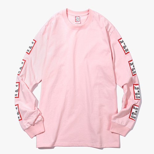 [Have a good time] Arm Frame L/S Tee - Light Pink