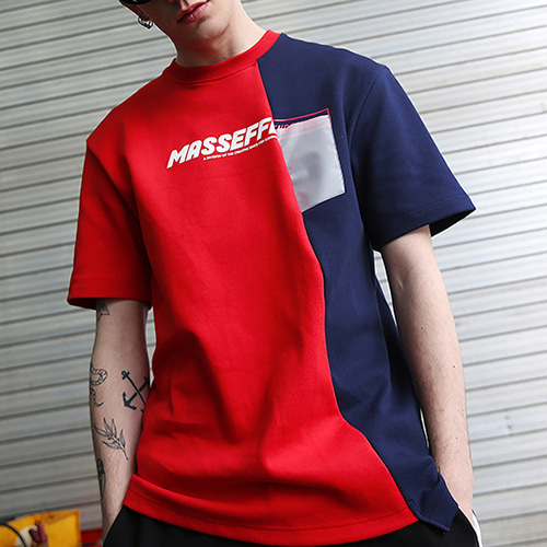 [RENDEZVOUZ] UNBALANCED BLOCK T-SHIRTS RED