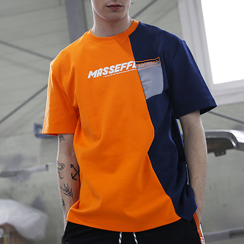 [RENDEZVOUZ] UNBALANCED BLOCK T-SHIRTS ORANGE
