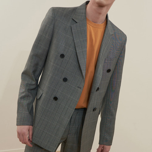 [MONOSEWING] WOOL CHECK SET-UP DOUBLE JACKET