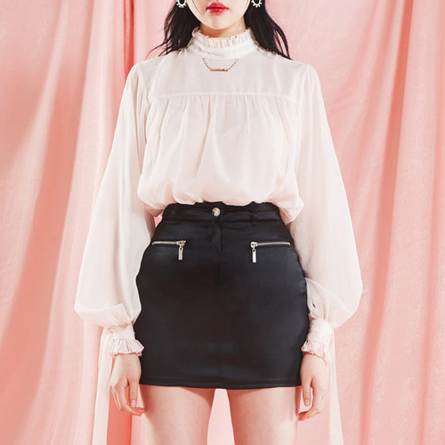 [PAIN OR PLEASURE] SHIRRING BLOUSE light pink