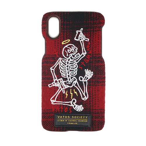 [STIGMA]MASTERPIECE WOOL CHECK FABRIC CASE RED iPhone 8 / 8+ / X