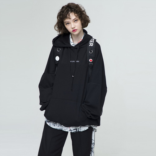 [THE GREATEST] GT18SS03 OVERSIZE HOODIE BK