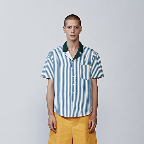 [DBSW] Color Block Collar Stripe Shirts BLUE