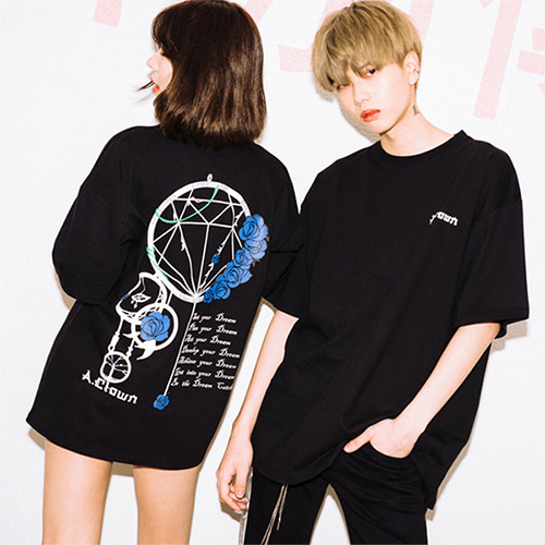 [A.Clown]Dream Catcher Half-Tee BLACK
