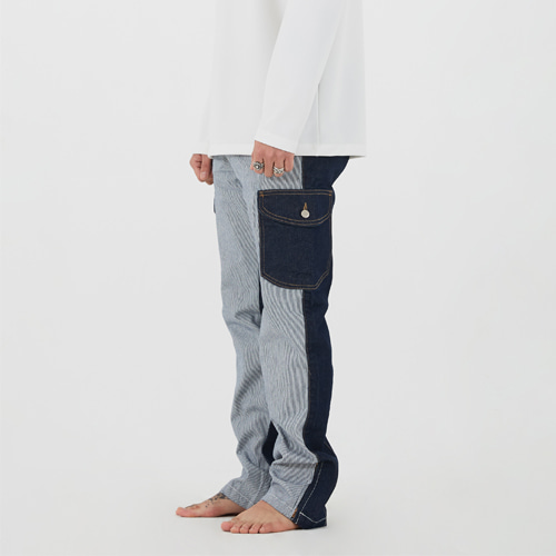 [Innovant] unbalance cargo denim pants(blue)