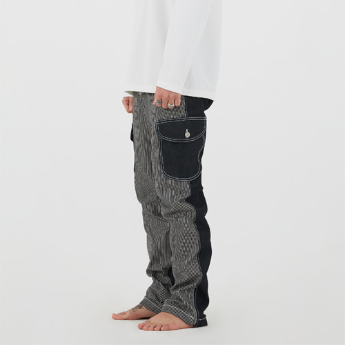 [Innovant] unbalance cargo denim pants(black)