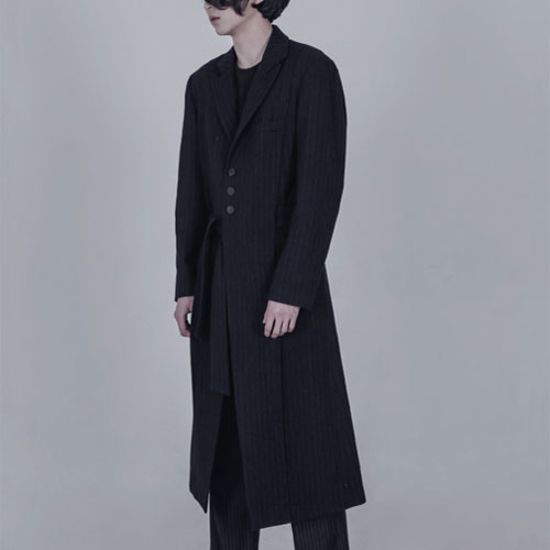 [AUFSTAND] Hidden Strap Detailed Long Coat - DarkNavy