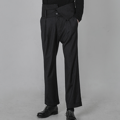 [AUFSTAND] Band Detailed Stripe Pants - Black
