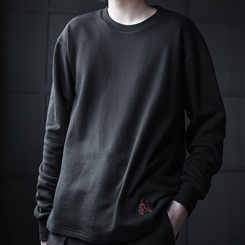 [AUFSTAND] Embrodidery Sweat Shirts - Black