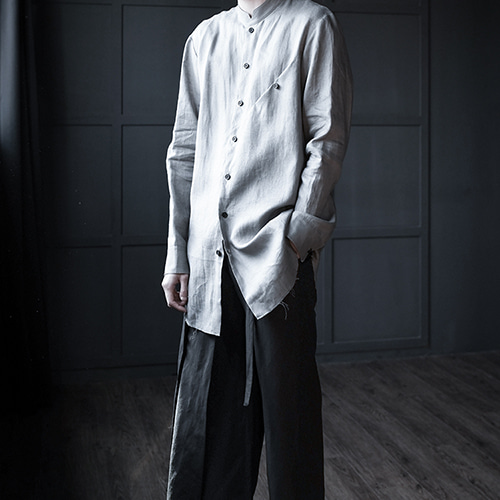 [AUFSTAND] Pocket Detailed Linen Shirts - LightGray