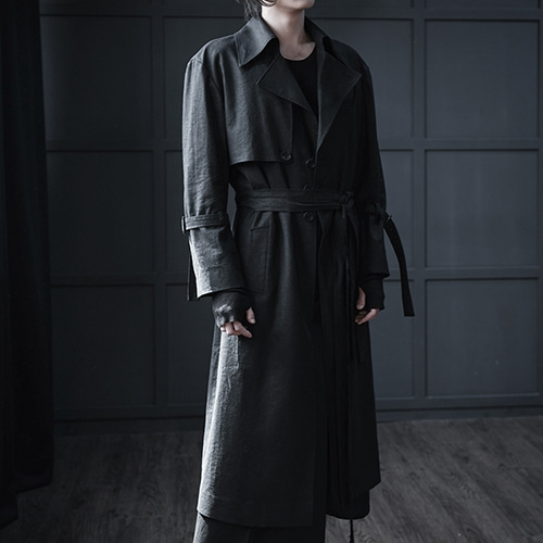 [AUFSTAND] Double Strap Linen Trench Coat - Black
