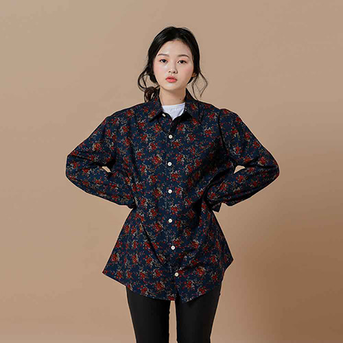 [OROR] R1-012 FLOWER SHIRTS - NAVY