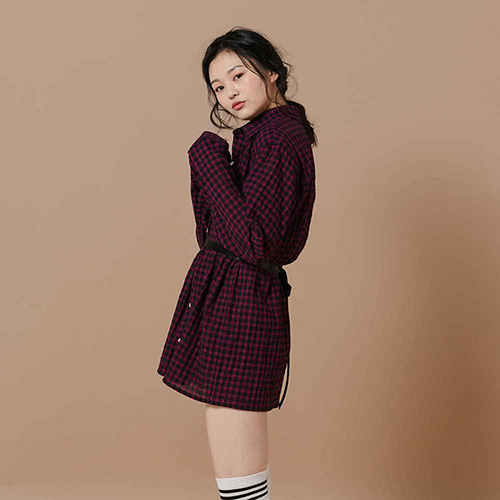 [OROR] R1-013 MINI CHECK SHIRTS - WINE