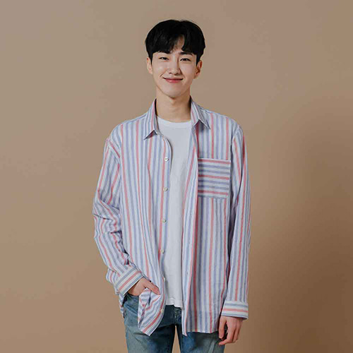 [OROR] R1-014 BLUE STRIPE SHIRTS - WHITE