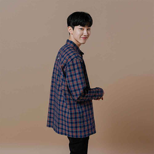 [OROR] R1-018 MINI CHECK SHIRTS - NAVY