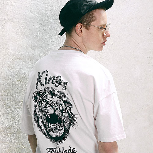[04/23] [TENBLADE] Lion Sketch Graphic Print Tee_White