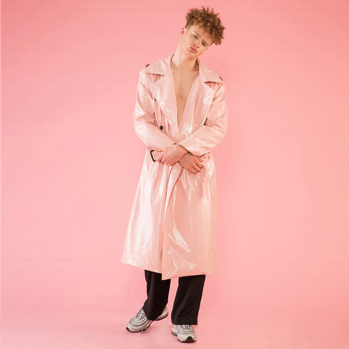 [DUCK DIVE]O.S.L PVC TRENCH COAT _ BABY PINK
