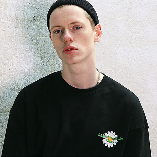[04/23] [TENBLADE] Paris Flower Graphic Print Tee_Black