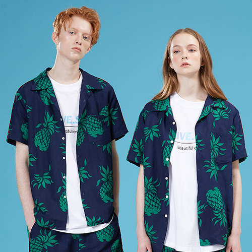 [MOTIVESTREET]LINEN SIDE SHIRTS HAWAIIAN