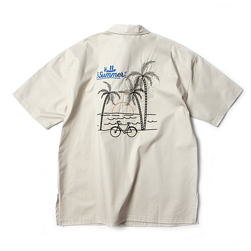 [앱놀머씽] Palm Tree Shirts (Beige)