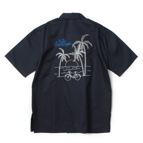 [앱놀머씽] Palm Tree Shirts (Navy)