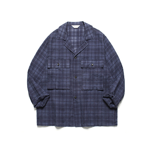 [LAFUDGESTORE]Ancho Wide Check Shirt_Navy
