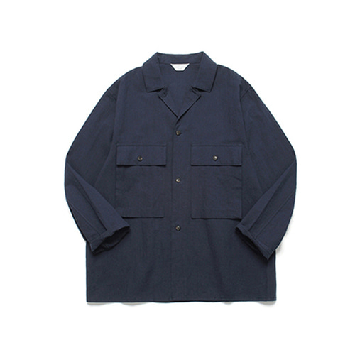 [LAFUDGESTORE]Ancho Wide Shirt_Dark Navy