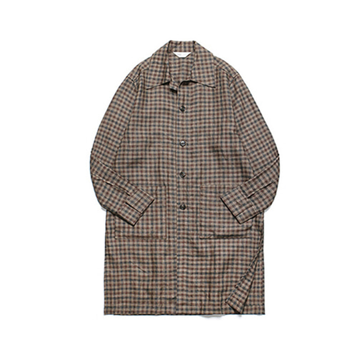 [LAFUDGESTORE]Long Slip Check Shirt Coat