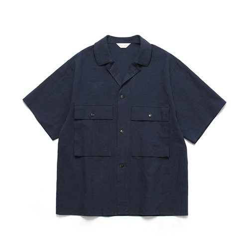 [LAFUDGESTORE]Ancho Wide 1/2 Shirt_Navy