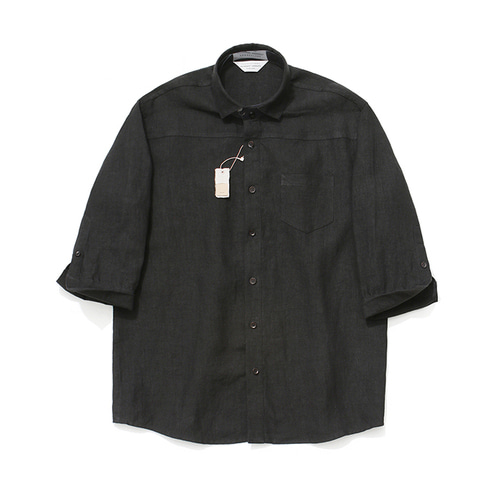 [LAFUDGESTORE]Cropped Sleeve Linen Shirt_Black