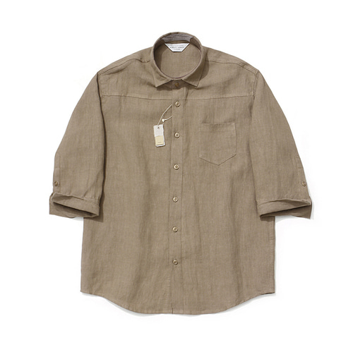 [LAFUDGESTORE]Cropped Sleeve Linen Shirt_Brown