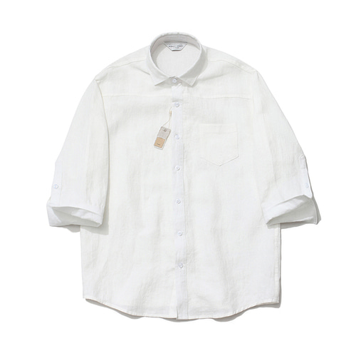 [LAFUDGESTORE]Cropped Sleeve Linen Shirt_White