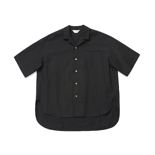 [LAFUDGESTORE]Over Wide 1/2 Shirt_Black