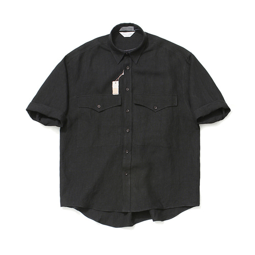 [LAFUDGESTORE]Roll up Over Linen Shirt_Black