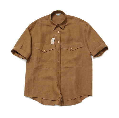 [LAFUDGESTORE]Roll up Over Linen Shirt_Mustard