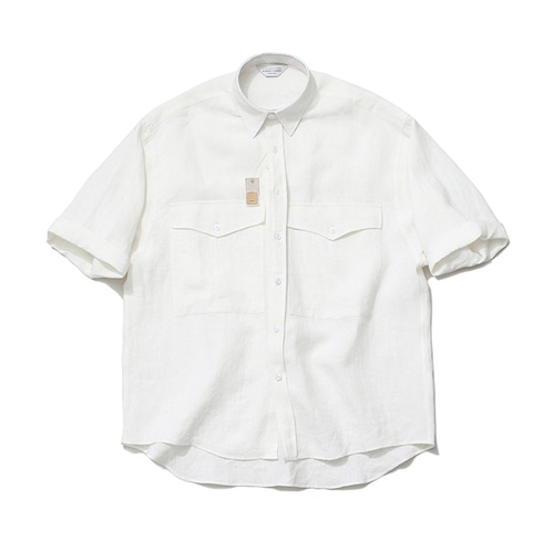 [LAFUDGESTORE]Roll up Over Linen Shirt_White