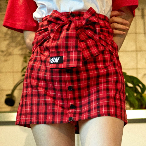 [NSTK] FAKE SLEEVE SKIRT (RED)