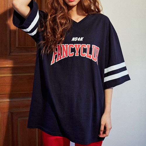 [NSTK] FANCY CLUB FOOTBALL TEE (NAVY)