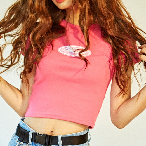 [NSTK] PINK FANCY CROP TEE (PINK)
